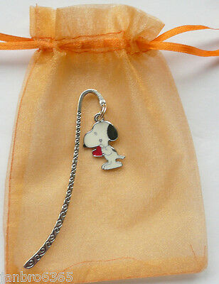 Snoopy Silver tone Bookmark in Organza gift bag