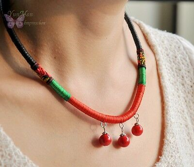 Chinese elegant tribal handmade twisted necklace red beads 41035