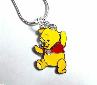 Winnie the Pooh Rhinestone Enamel Charm Pendant 16in Silver plated Snake Chain