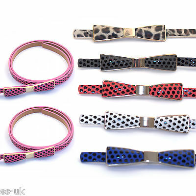 Women's / Girls Spotty Skinny Bow Belt -- 6 Colours - BNWT
