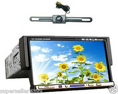 """Single 1 Din 7"""" In Dash Car Stereo DVD CD Radio Player Touch Screen USA+Camera"""
