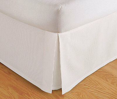 "Tailored Bed Skirt. Dust Ruffle, Pleated, 14"" Drop, Beige White, Full Queen King"