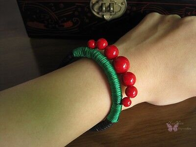 New fancy Chinese elegant tribal green hand twisted red beads bracelet 42025