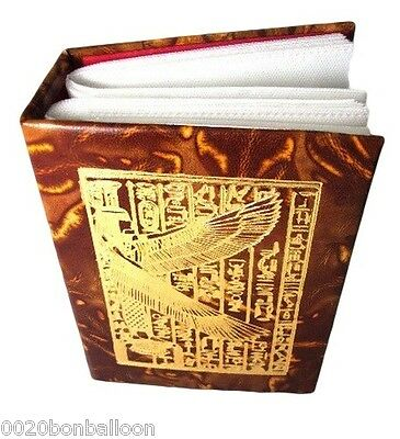 """Egyptian Genuine Leather 4""""X6"""" Photo Album Isis WIings Pharaoh 72 pictures   221"""