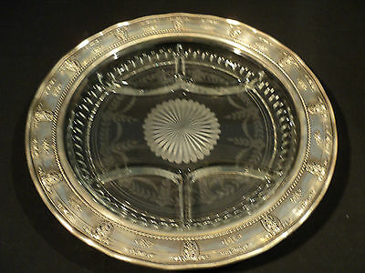 """Crystal Tray With """"rose Point"""" Engraved Decoration And Sterling Silver Rim"""