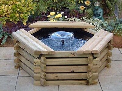 50 Gallon Pool With Liner & Fountain. New Wooden Garden Pond. Water Feature