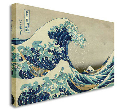 The Great Wave off Kanagawa Canvas Wall Art Picture Large + Any Size