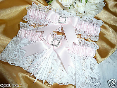 Pink White French Wedding Bride Garter Set Satin Lace Bow Square Heart Diamante
