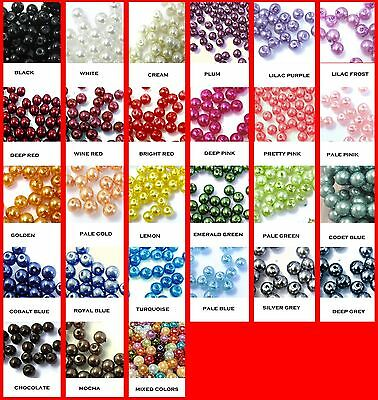 100 or 200 Pcs - Glass Pearl Round Beads - 6mm size - FREE UK Postage