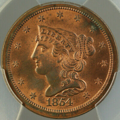 1854 Braided Hair Half 1/2 Cent PCGS MS-64 RB *Mostly Red* Better Coin
