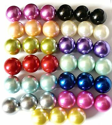 20pcs x 20mm  / 10pcs x 24mm Faux Pearl Beads Large Sizes In 20 + Colours