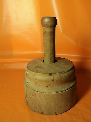 Primitive Antique Plunger down Pineapple Wheat Butter mold