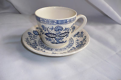 Grindley Transferware Royal Tudor Blue Onion Cup And Saucer