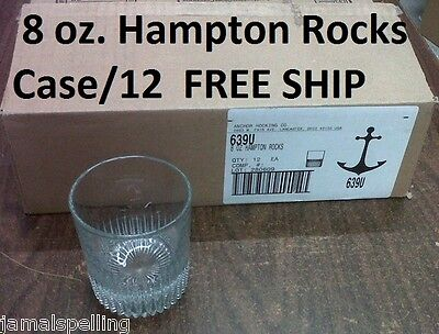 Anchor Hocking 8oz. HAMPTON ROCKS GLASS CASE/12 #639U free shipping