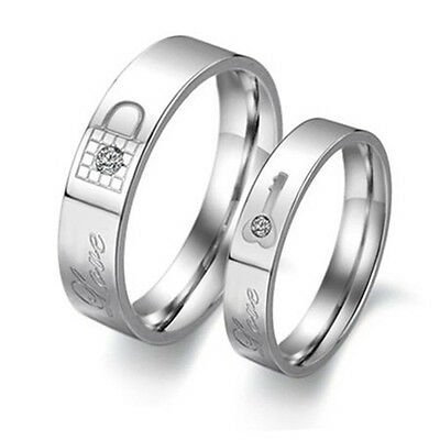 Lock our love Shinning crystal Titanium Steel Promise Ring Lovers Couple J99