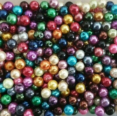 100 pieces 6mm Glass Pearl Beads - Assorted Mixed - A0978