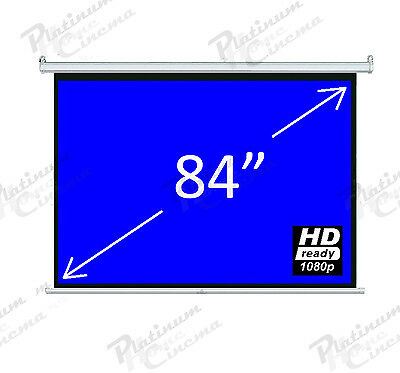 """New 84"""" Electric HD Projection Screen projector home cinema 4:3 Matt White"""