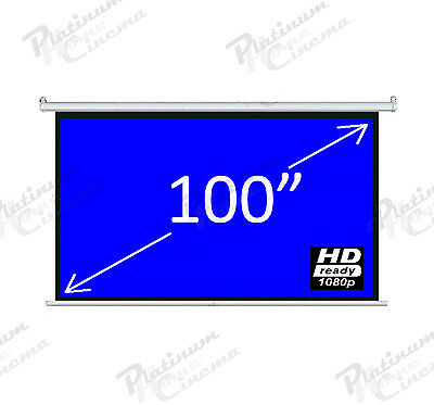 "New 100"" Electric HD Projection Screen projector home cinema 16:9 Matt Grey"
