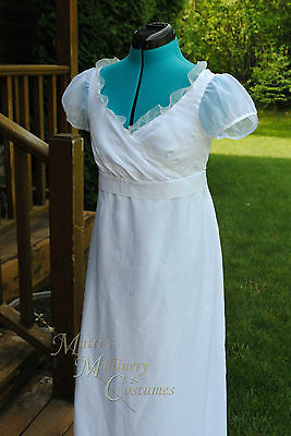 P&P Movie Repro White Ball Bridal Wedding Jane Austen Regency Dress Gown CUSTOM