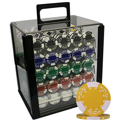 1000 11.5G Las Vegas Clay Wheat Poker Chips Set Acrylic Case