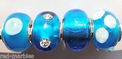 New Rhona Sutton 925 Sterling Silver Glass Lampwork Royal Blue Charm Beads x4.
