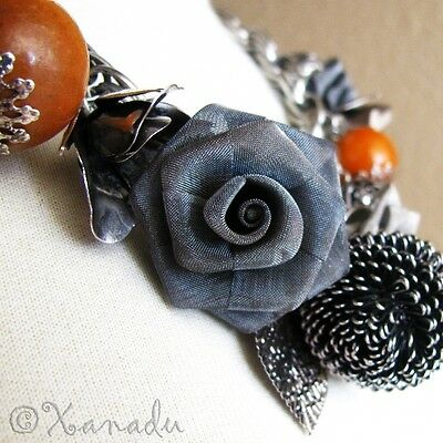 Autumn Treasures Fall Themed Antiqued Silver Artisan Crafted Statement Necklace