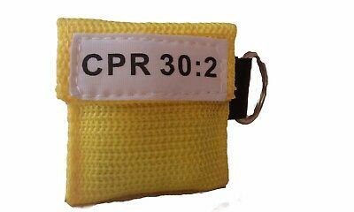 100 Yellow CPR Mask Keychain Face Shield key Chain Pocket imprinted CPR 30:2