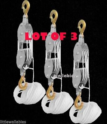 LOT 3 4000LB 2 Ton 65FT Poly Rope Hoist Pulley Block And Tackle Rope 7:1 Lifting