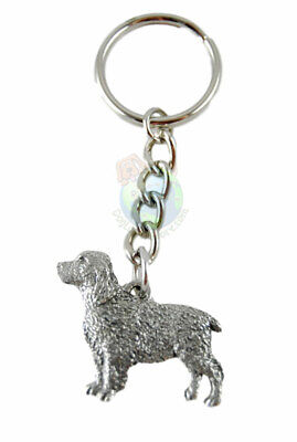 Springer Spaniel Keychain Silver Pewter Key Chain Ring