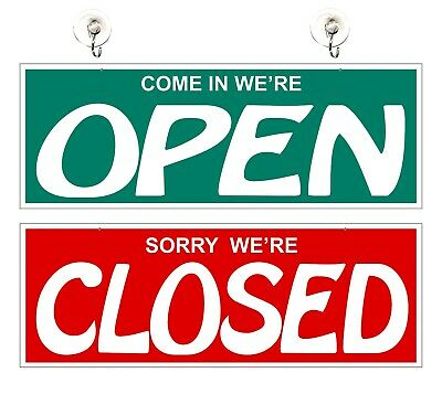 "OPEN CLOSED SIGN 7.1/2"" x 19"" Double Sided Hanging Signage"