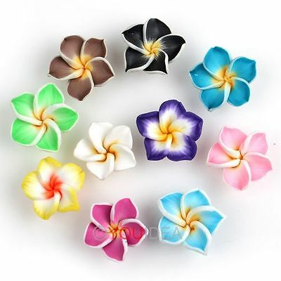 50Pcs Mixed Polymer Clay Fimo White Petals Plumeria Flower Beads 15mm 111590