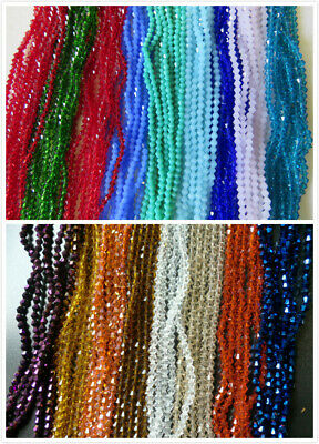 120pcs x 4mm Beautiful Glass Crystal Bicone Beads In 37 Colours UK Seller