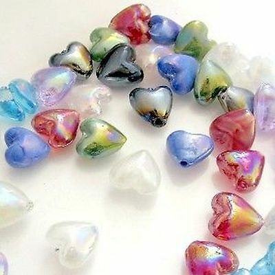 50 pieces 12mm Lampwork Heart Beads - Mixed - A3902