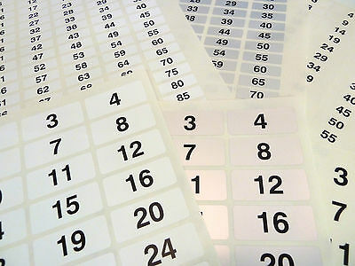 31x10mm Consecutive Sequential Numbering Labels Number Stickers - 3 Colours