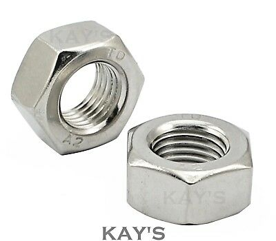 A2 Stainless Steel Hexagon Full Nuts To Fit Metric Coarse Pitch Bolts & Screws