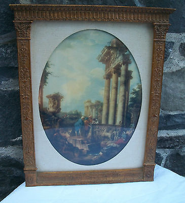 Antique Early Great Master Print W/ Italian Columned Gold Gilt Frame, Beautiful!