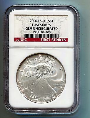 2006 American Silver Eagle Coin .999 1 Oz NGC GEM Uncirculated FIRST STRIKES