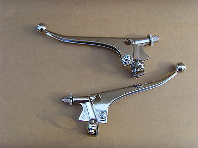 "7/8"" Chrome Plated Brake And Clutch Handlebar Levers Universal Fit Brand New"
