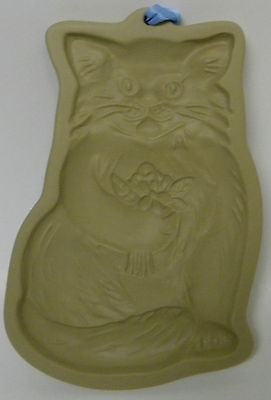 Brown Bag Cookie Art Hill Design 1983 Kitty Cat Holding Flowers Mold Stoneware