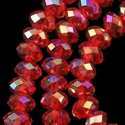94-100 PCS , 4 X 6 mm Faceted Red Crystal Gemstone Abacus Loose Beads