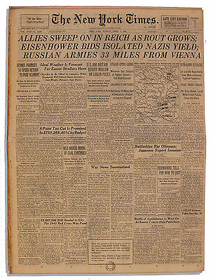 ''Allies Sweep On In Reich As Rout Grows'' 4/1/45 NYT
