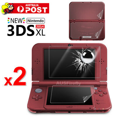 2x 2in1 Set Top & Bottom LCD Screen Protector Cover Film For Nintendo 3DS XL LL