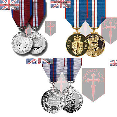 Queens Silver, Golden + Diamond Jubilee Full Size Medals and Ribbon ( UK Made
