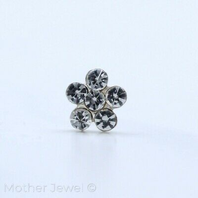 Real Solid 925 Sterling Silver Clear Crystal Flower Nose Stud Ball End Pin Bone