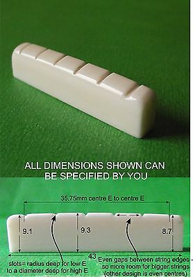 Hand Carved Bone Guitar Nut 43 to 48mm wide. Made To your Spec. PN001