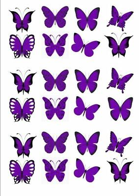 24 x MIXED PURPLE & BLACK BUTTERFLY EDIBLE CUPCAKE TOPPER RICE WAFER PAPER M10