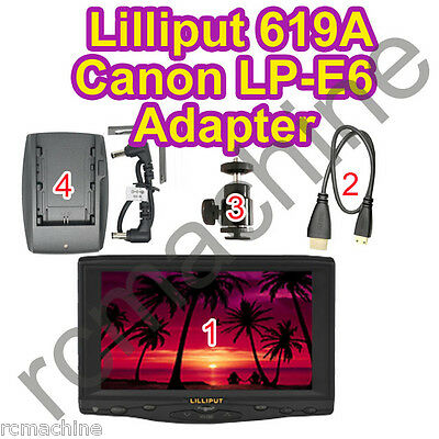 "2013 Lilliput 7/""619A 1080P HD HDMI field Monitor+LP-E6 Battery for Canon 5D III"