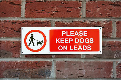 Please Keep Dogs On Leads Plastic Or Metal Sign Or Sticker 300mm x 100mm