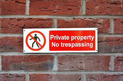 Private Property No Trespassing Plastic Or Metal Sign Or Sticker 300mmx100mm