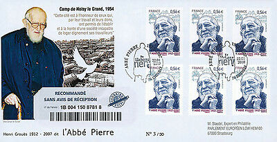"ABP5R Registered FDC ""1st Day - Abbé Pierre, Founder of Emmaus"" (Esteville) 2010"